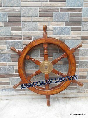 "Authentic Boat Ship_Captain's Nautical~Wheel 24"" Wooden Steering Marine Replica"