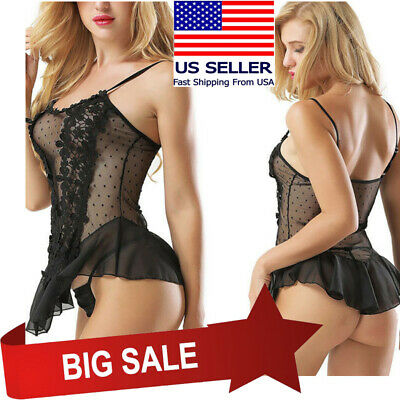 Black Floral Lace Babydoll Teddy Tank Top Ruffled Skirt Boudoir Lingerie M-5XL