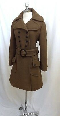 Vintage 1960s Brown Wool Military Double-Breasted Fit and Flare Coat M/L