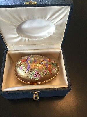 Le Tallec Paris French Painted Birds Porcelain Gold Egg Mint New With Box