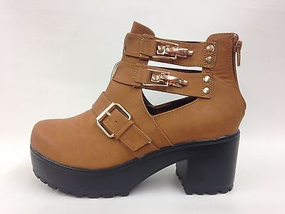 Brand New Ladies Vintage Style Tan Ankle Boots Hipster Look UK 8 EU 41 LAST PAIR