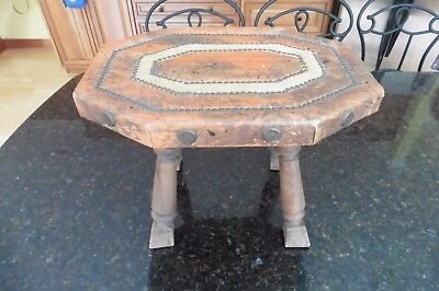 Leather Footstool Ottoman Sucarrat Spain Barcelona Bench vntg Antique handmade