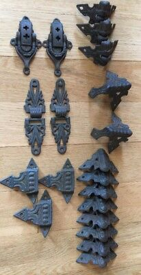 Antique Iron Hardware Lot Trunk Brackets Hinge