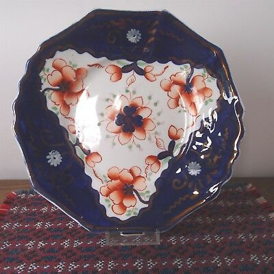 "Antique Gaudy Welsh Decagon 10 Sided Cake Plate Powys 8½"" - Pattern #101 -VGC"
