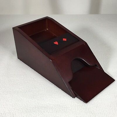 "Card Dealer Wooden Vintage Dark Wood 9.25"" Long 3.5"" Tall"