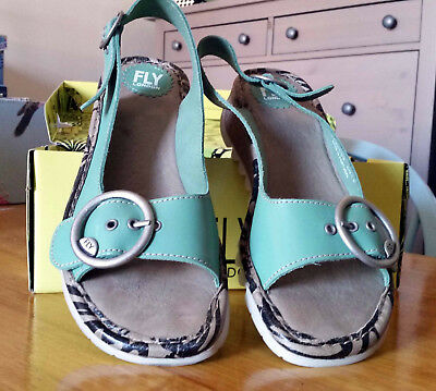 Ladies Fly London 'Tram' leather wedge sandals size 8 (UK) 'Mynt' green