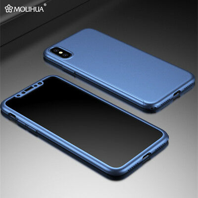 For iPhone X 8 360° Protection Hybrid Hard Bumper Case Cover + Screen Protector
