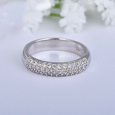 WOMEN 925 STERLING SILVER ICED BLING ROUND CZ ENGAGEMENT GOLD RING SIZE6-10*GR51