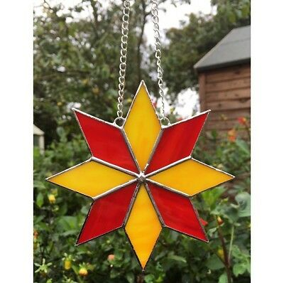 Handmade Stained Glass Star Suncatcher Tiffany Glass Technique Red & Yellow Star