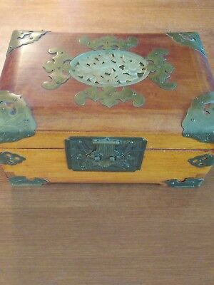 Vintage Brass And Wood Jewelry Box With Jade Inlay