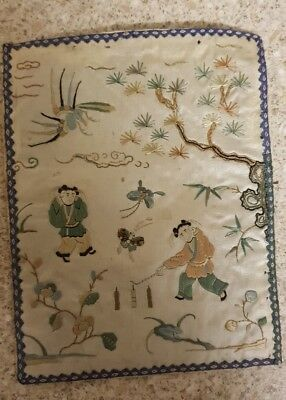 Antique Chinese embroidery panel RARE MEN AND FIREWORKS PATTERN