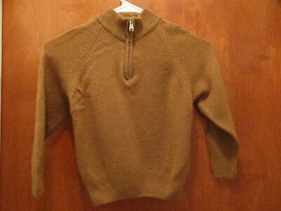 BARNUM 100% CASHMERE Camel Tan Boys 1/4 Zip Sweater Made in Italy NICE!!