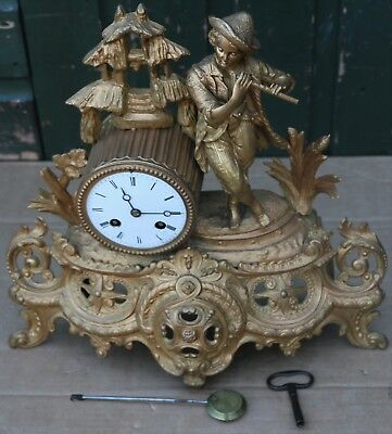 Super Looking Old Gilt Metal Mantel Clock With Boy On Playing A Flute