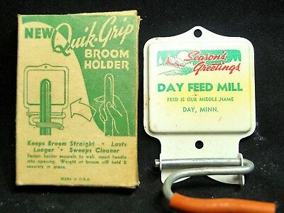 Vintage Quick Grip Broom Holder W/ Farm Feed Seed Holiday Advertising NOS W/ Box