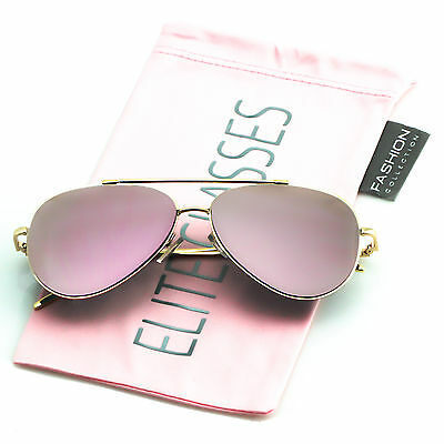 Rose Gold Women Sunglasses Aviator Mirrored Metal Oversized Glasses New