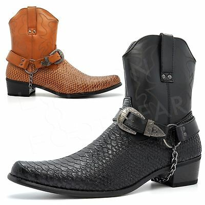 New Mens Snake Skin Western Cowboy Boots Cuban Heel Ankle Harness Zip Size 6-12