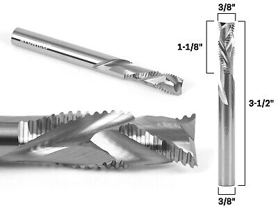 "3/8"" Dia. Compression Spiral Rougher End Mill CNC Router Bit - 3/8"" Shank - Yoni"