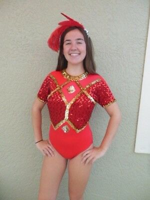 Majorette Baton Twirling Costume Leotard Red Sequin Adult Halloween SZ Small