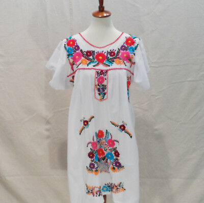 Womens M/L Latin American embroidered colorful floral peasant dress