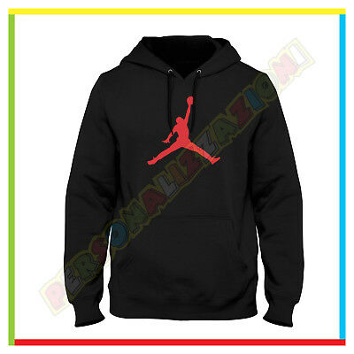 Felpa Logo Micheal Air Jordan Basket Hoodie Tasche  Cappuccio Fruit Of The Loom