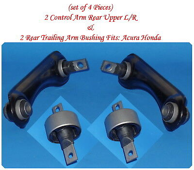 (4Pcs) 2 Control Arm Rear L/R & 2 Rear Trailing Arm Bushing Fits: Acura Honda