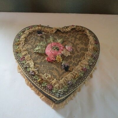 RARE Antique Victorian SILK FLOWERS LACE LADIES CANDY TRINKET HEART SHAPED BOX