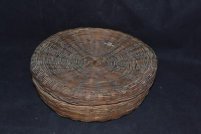 Vintage Covered Sewing Basket-Asian (?)             ND178