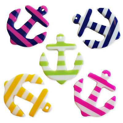 5pcs Assorted Stripey Anchor Resin Charm Pendant Jewellery Craft Accessory