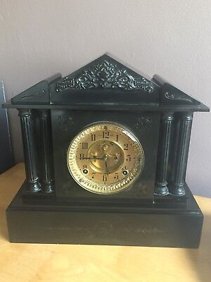 Antique Of 1882, 8 Day French Mechanical Move Clock Fixed In Black Marble