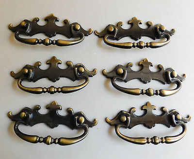 6 Antique Brass Chippendale Bat Wings Drawer Pulls Handles Lot