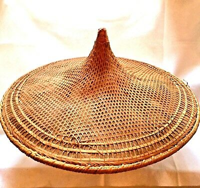 """Large Antique Chinese or Japanese Wicker Rattan Cone COOLIE Rickshaw Sun Hat 24"""""""