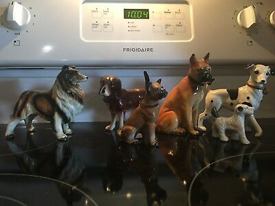 Dog figuriines lot of 6 Japan made porcelain