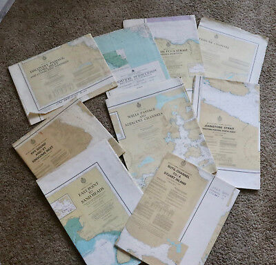 1970's & 80's British Columbia Nautical Charts Maps Canal