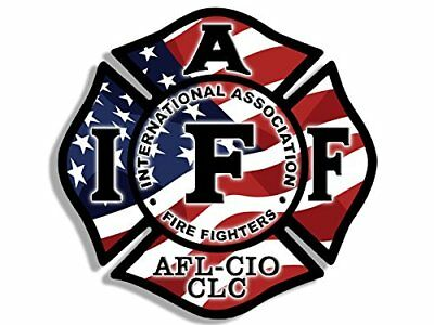 4x4 inch USA FLAG Maltese Shaped IAFF AFL CIO Sticker -american fire firefighter