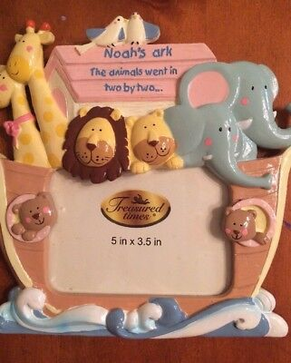 "Noah's Ark Photo Frame-Nursery Colors-Holds 3.5"" x 5"" Photos-New-SHIPS FREE"