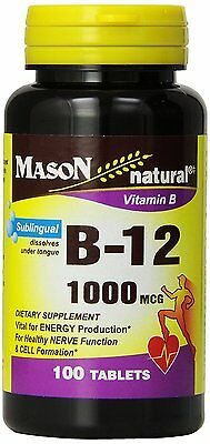 Mason Vitamins B-12 1000Mcg Sublingual Cyanocobalamin Tablets, 100-Count Bottles