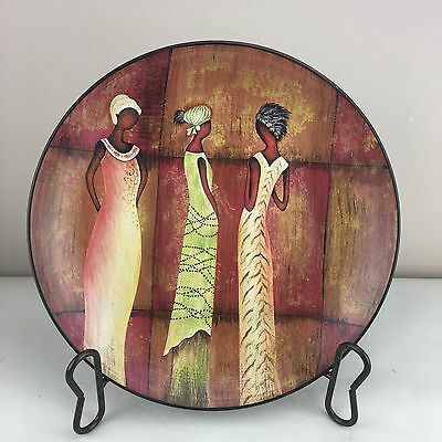 African Art Heavy glass Display Plate W/ Three Africa Women, Metal Easel Stand