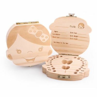 Tooth Box Organizer Kids Baby Save Milk Teeth Wood Storage Box For Boy Girl