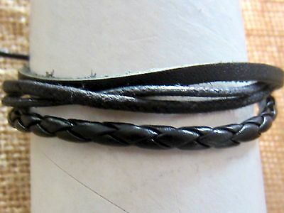 Bracelet Wrist Band Black Leather Cotton Adjustable Anklet Men Women Surfer New