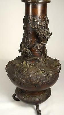 MEJI PERIOD JAPANESE BRONZE DRAGON VASE: Lot 43