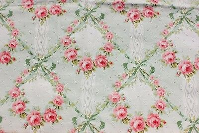 Antique French Pink Roses & Green Ribbons Printed Home Fabric c1890