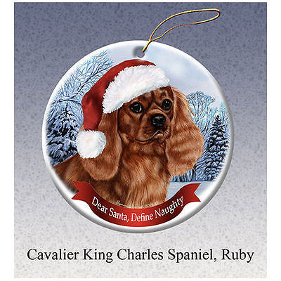 Cavalier King Charles Ruby Howliday Porcelain China Dog Christmas Ornament