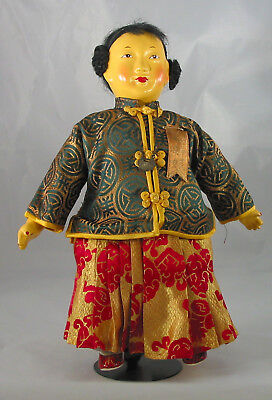 "Chinese 11"" Girl Doll, composition Made in Hong Kong, 1950s. Micale. Michael Lee"