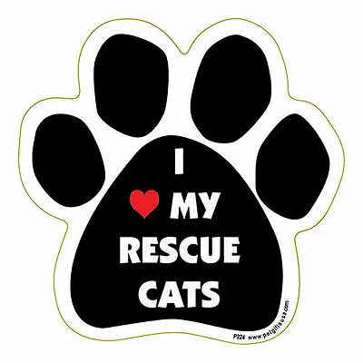 I Love Heart My Rescue Cats Dog Paw Quote Car Magnet