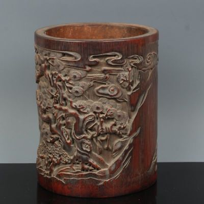 China Exquisite Hand-carved landscape carving bamboo Pen holder