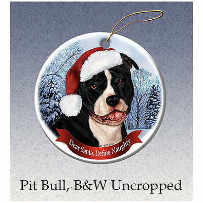 Pit Bull Black Uncropped Howliday Porcelain China Dog Christmas Ornament