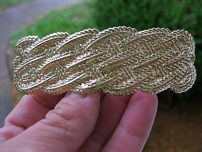 Vtg Nos Gold Lightweight Metal Wavy Rope Design Hair Barrette Clip Retro 1980's
