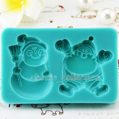 Snowman Santa Claus Silicone Soap Candle Moulds Flexible Polymer Clay Cake Molds