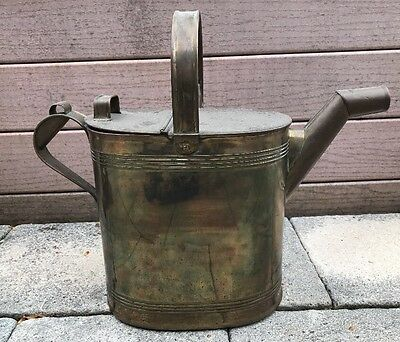 1800's Antique English Victoria Style Copper Watering Can By H F & Co