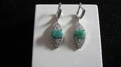 clearance!! Natural Emerald 925 sterling silver  earrings with CZ